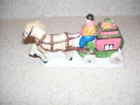 1990 NOMA Dickensville Collectables Porcelain Wagon Christmas Village 1385