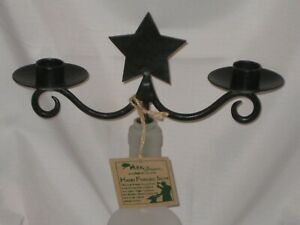 """Forged """"STAR"""" Wine Bottle Candelabra Topper For Tealight  or Votive Candle's"""