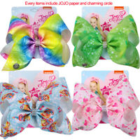 "NEW 8"" JoJo Siwa first light leah Hair Bow With Alligator Clip Girl Kids Bowknot"
