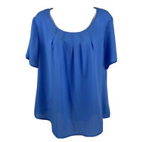 Kim Rogers Women's Shirt Blouse Sz Large Blue Periwinkle Short Sleeve