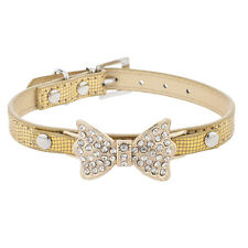 Lux Accessories Gold Tone Pave Bow Sequin Fashion Pet Cat Dog Collar Necklace