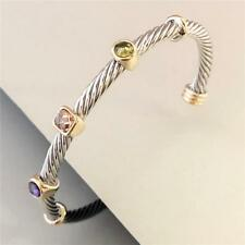 LADIES Bangle Cuff BRACELET Fashion ELEGANT Cable Wire JEWELRY Classy TWO-TONE