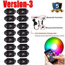 16 Pods RGB LED Rock Lights Kit Offroad Music Wireless Bluetooth Control Trucks