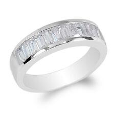 Channel Solid Band Ring Size 8-12 JamesJenny Mens 10K White Gold Bagutte Cz