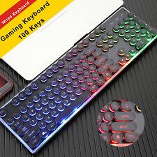 RGB 7 Colour LED Gaming Keyboard USB RGB Lighting PC Computer Windows Mac OS