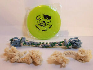 Lot of 4 Small Dog Toys-Have a Good Time Frisbee + Cotton Knotted Tug of War