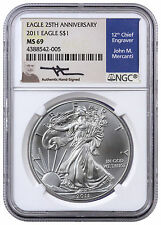 2011 American Silver Eagle 25th Anniversary NGC MS69 (Mercanti Signed) SKU40910