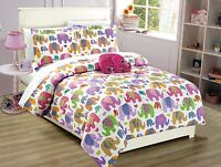 Fancy Linen Elephant White Purple Pink  kids/Teens Comforter set