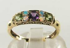 SUFFRAGETTE 9k 9CT YELLOW GOLD AMETHYST PERIDOT OPAL ART DECO INS RING FREE SIZE