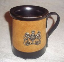 "Vintage Real Hide England Beer Mug with Crest 4 7/8"" Tall"
