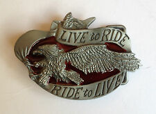 "BUCKLE FOR BELT - BIKER ""Live to Ride, Ride to Live""  TO SUIT 1.5"" SNAP ON BELT"