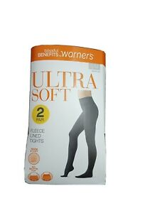 Womens 2 Pair Pack Ultra Soft Fleece Lined Tights Size S/M black No Muffin Top