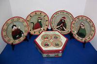 "Sakura Fiddlestix Holiday Cats 4 Salad Dessert Plates (8.25"") w/ Box Christmas"