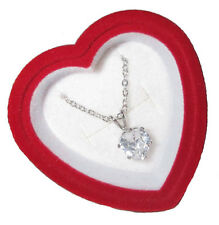 necklace heart cubic zircona pendent gift box chain white gold plate 3 ctw NWT