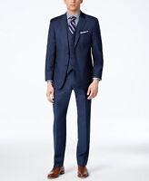 $707 Tommy Hilfiger Men Blue 2 Piece Wool Fit Suit Blazer Jacket Coat Pants 44 L