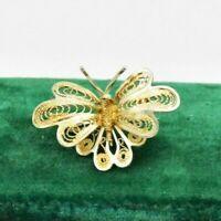 Vintage Sterling silver brooch pin Filigree butterfly Art Nouveau #W436