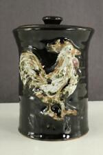 VINTAGE Studio Art Pottery Cookie Jar ROOSTER Chicken Raised Relief Design 7