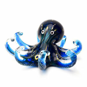 Blue Octopus Paperweight Black Marine Life Glass Sculpture Home Decoration Gift