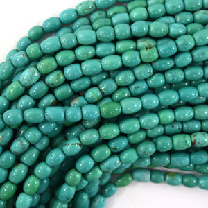 "8mm green turquoise barrel beads 15.5"" strand"