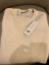 Vince Men's 100% Cashmere Thermal Waffle Crewneck Sweater Extra Large XL Cream