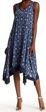 Nanette Lepore Blue Tile Print V-Neck Sharkbite Dress Size 4*