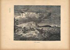 Stampa antica VIA FLAMINIA nella CAMPAGNA DI ROMA 1885 Antique print