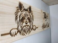 Dog Wooden Sign House Plaque Engraved Wood Name Plate Personalised Decor Gift