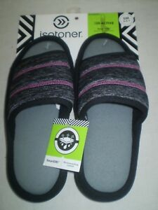 Isotoner Active SmartDRI Moisture Wicking Comfort Slides EasyOn Slippers 6.5 7 S