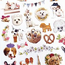 Vintage Paris Cute Dog Floral Party Plastic Sticker Sheet - Scrapbooking Journal