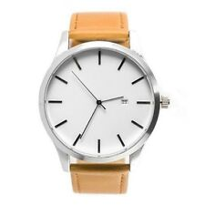 Fashion Date Watches WHITE Face With Tan Scrub Leather Strap