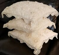 Vintage Hand Crocheted Throw Pillows -Set of 3 Clean Linen