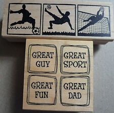 Rubber Stamps x 2, Magenta Football, Great Impressions Great Dad Sport, Father
