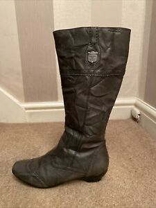 Tamaris 26902 Ladies Black Grained Leather MidCalf Warm Lined ZipUp Winter Boots