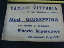 CARTELLO CAMBIO VITTORIA CAMPIONE DEL MONDO BICI LEGNANO BIANCHI FREJUS DEI