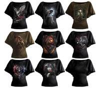 SPIRAL DIRECT Womens Latin Boatneck Top Tee, Goth/Rock/Biker/Angel/Dragon/Celtic