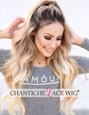 Long Natural Wavy Synthetic Hair Lace Front Wigs Ombre Blonde Wig for Women Heat