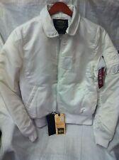 Alpha Industries Mens White Bomber jacket Size Large