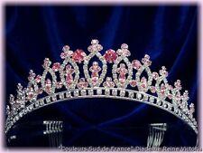 """DIADEME MARIAGE CRISTAL ROSE """"Reine Victoria"""" BIJOUX MARIEE"""