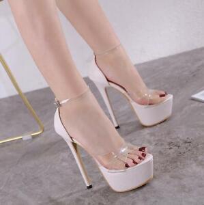Womens Ankle Strap Ladies Platform Sandals Open Toe Stiletto High Heels Shoes