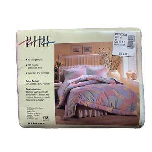 Vintage 1993 Caress Hopscotch QUEEN Size Flat Sheet Poly Blend Neon Bright NOS