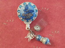 Personalized Blue Butterfly card reel/ id badge holder for nurses, teachers...