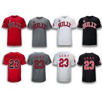 NEW Men Bully Bulls #23 Shirt Sport Basketball GOAT Old School Red White Black