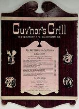 Unusual Vintage Original Menu GUV'NOR'S GRILL Washington DC