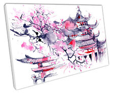 PINK JAPAN CANVAS WALL ART PICTURE LARGE 75 X 50 CM