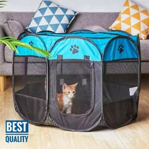 Large Portable Pet Dog Cat Playpen Tent Folded Fabric Fence Kennel Cage Crate