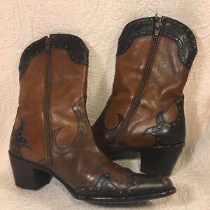 Stuart Weitzman Key West Brown Leather Studded Western Cowboy Boots Womens 8 M
