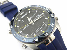 Mens Black Steel SEIKO Lorus Dual Chrono Sports Watch Z021-X007 - 100m