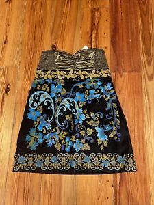 Free People Strapless Dress NWT Gold Lame and Velvet size 12