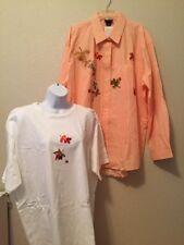 NEW 2pcs Women's Iron-on Embroidered Applique Seasonal T-Shirt/Blouse Set Sz 2XL