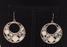 Earrings Silver White Dangle Circle Rhinestone Crystal Hoops Party Biker Club
